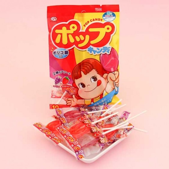 Fujiya Peko-Chan Pop Candy Fruit Lollipops - 10 pcs
