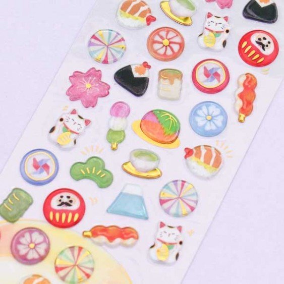 Drop Peko Japanese Food Puffy Stickers
