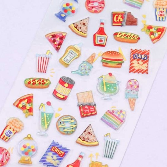Drop Peko Fast Food Puffy Stickers