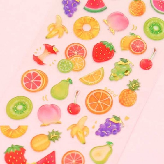 Drop Peko Fruit Puffy Stickers