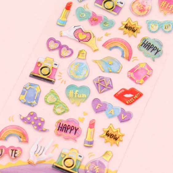 Drop Peko Fashion Puffy Stickers