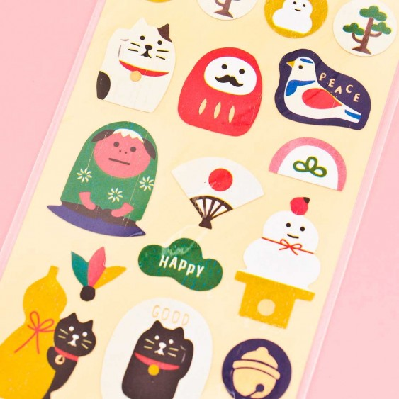 Traditional Japanese Cat Washi Stickers