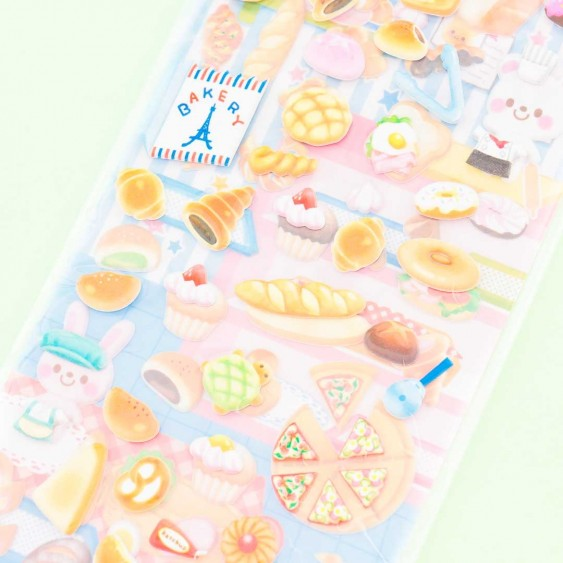 Happy Animals Puffy Sticker Set - Bakery & Pizza Shop