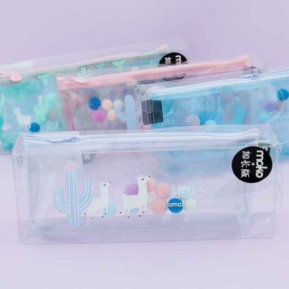 Llamas & Cactus Transparent Pencil Case