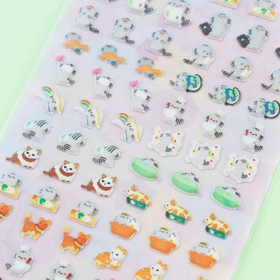 Nekoni Cute Neko Puffy Stickers