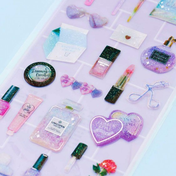 Cosmetics Glittery Gel Stickers