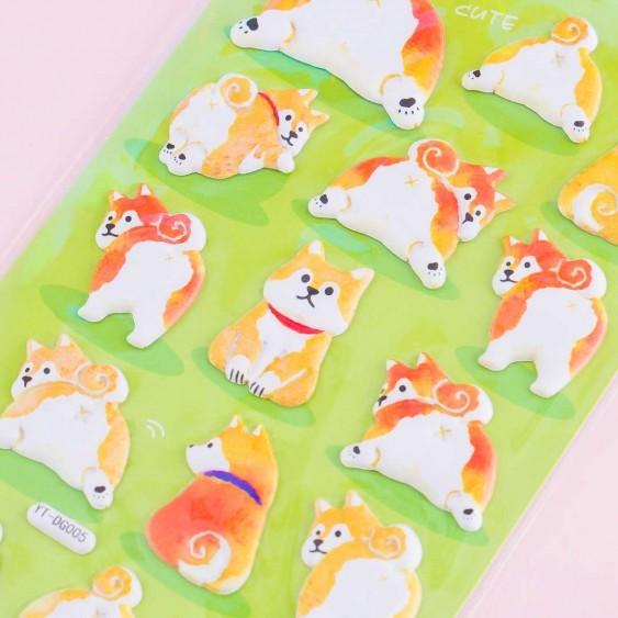 Shiba Inu With Collar Puffy Stickers