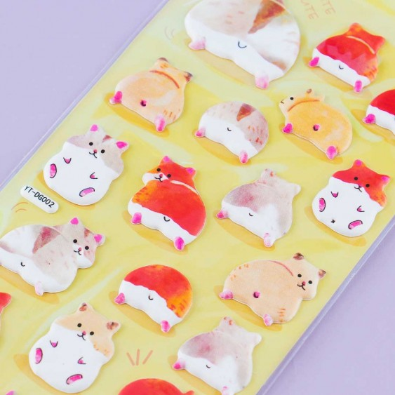Hamster Puffy Stickers
