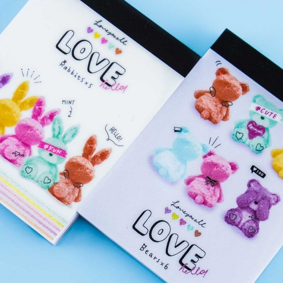 Love Hello Rabbits & Bears Mini Notepad