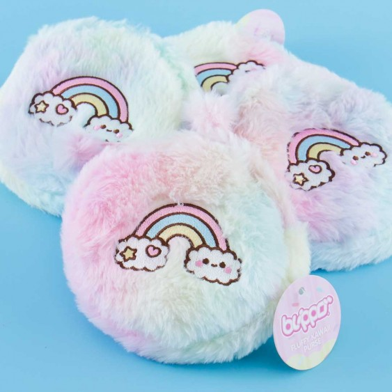 Fluffy Pastel Rainbow Purse