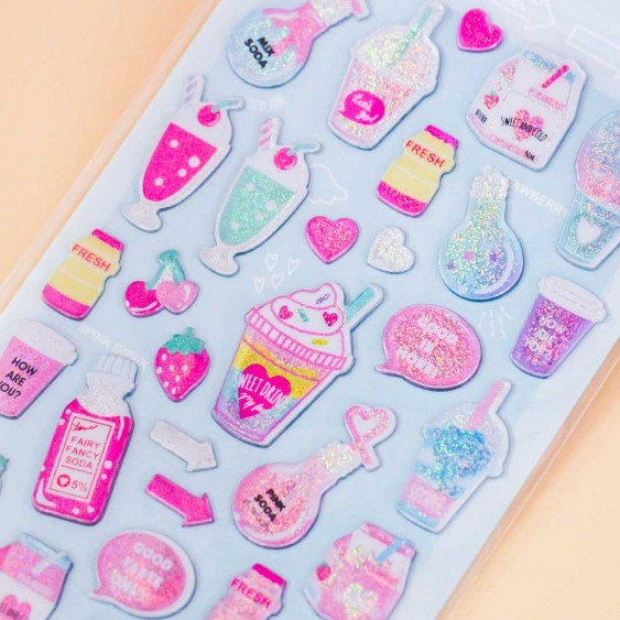 Glittery Drinks & Desserts Stickers
