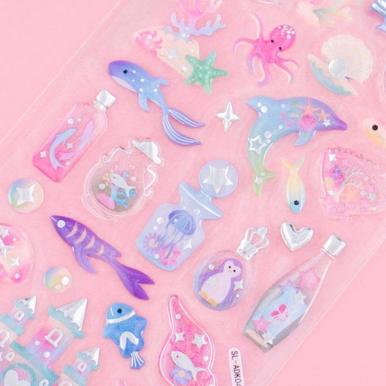 Sea Bottles & Underwater Animals Drop Seal Stickers