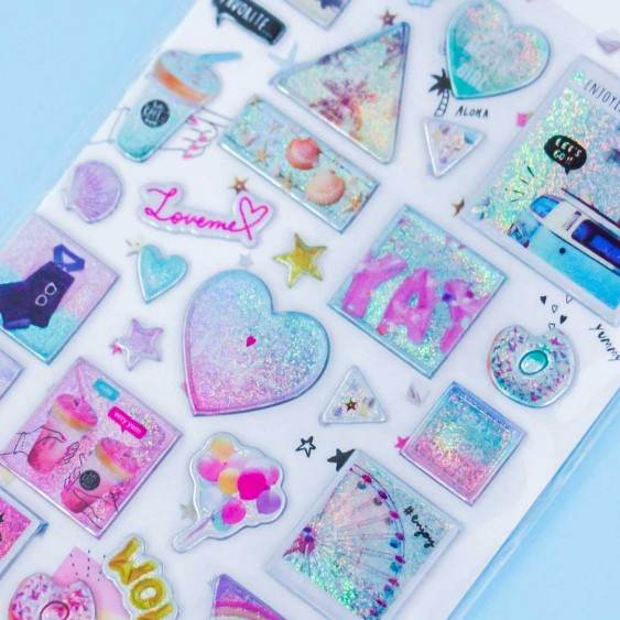 Sparkly Balloons & Hearts Stickers
