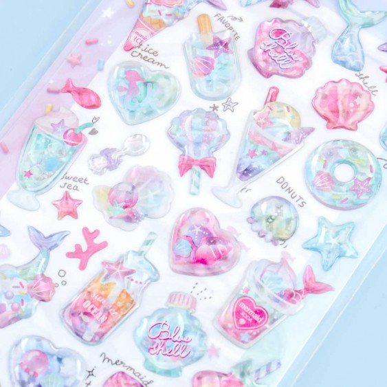 Melty Holic Puffy Stickers - Mermaid Sweets