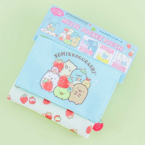 Sumikko Gurashi Strawberry Fair Multi-Pocket Pouch
