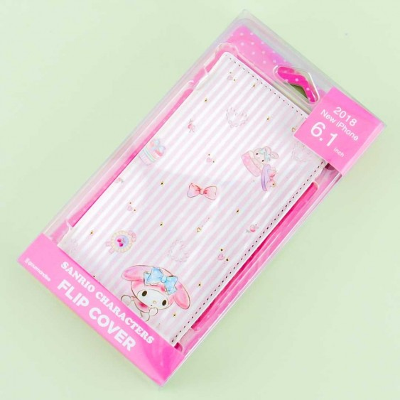 My Melody Striped Flip Cover Phone Case for iPhone XR / XS