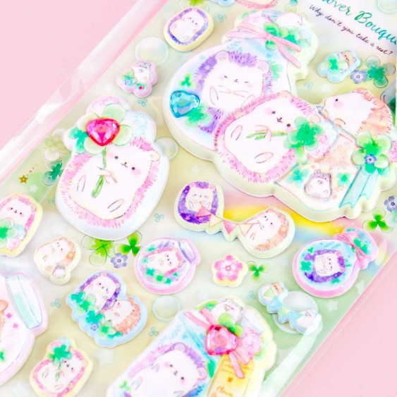 Jeweled Clover Bouquet Puffy Stickers