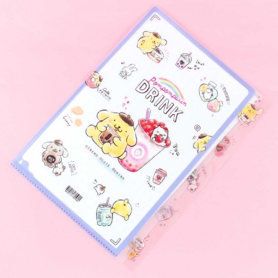 Pompompurin Sweet Drinks L-Shaped Multi-Section Folder