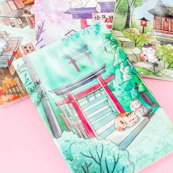 Japanese Town Sleeping Cat A5 Notebook