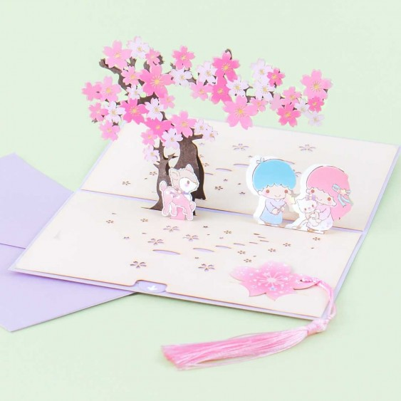 Little Twin Stars Sakura Pop Up Greeting Card & Bookmark