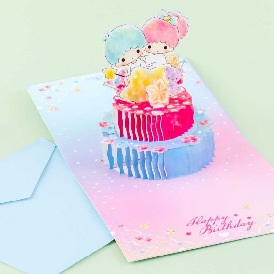 Little Twin Stars Birthday Cake Pop-Up Greeting Card