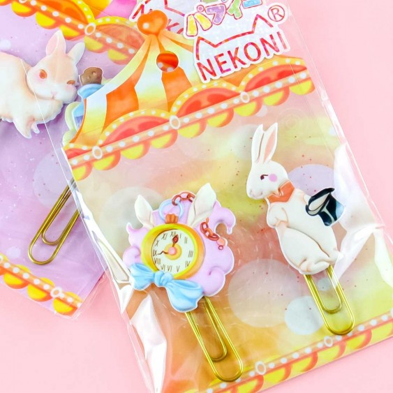 Nekoni Jumbo Rabbit  Bookmark Clip Set