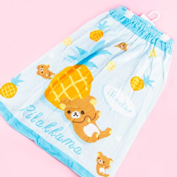 Rilakkuma & Pineapples Wrap Towel With Buttons