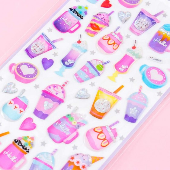 Sparkle Drinks Puffy Stickers