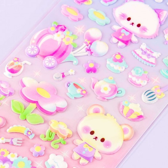 Amusing Flowery Tea Time Puffy Stickers