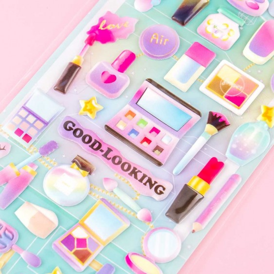 Cosmetics Good-Looking Makeup Puffy Stickers