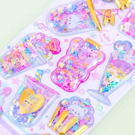 Yummy Capsule Bunny Bear Sweets Puffy Stickers