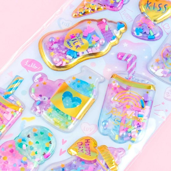 Yummy Capsule Cold Treats Puffy Stickers