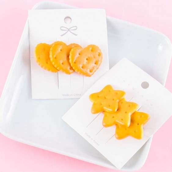 Hearts & Stars Biscuit Hair Clip