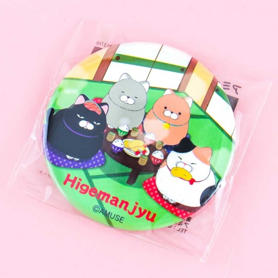 Hige Manjyu Neko Dinner Time Round Pocket Mirror