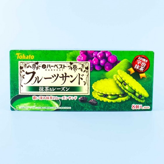 Tohato Harvest Fruit Sandwich Cookies - Matcha Raisin