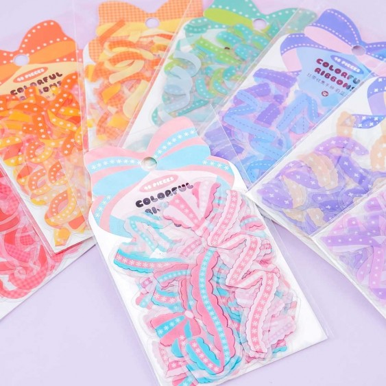 Colorful Rainbow Ribbons Stickers
