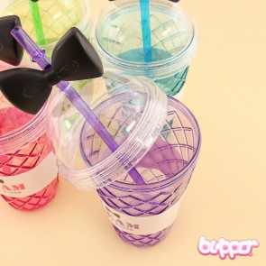 Ice Cream Cone Drinking Cup With Ribbon Straw