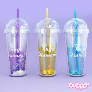 Diamond Drinking Cup With Straw