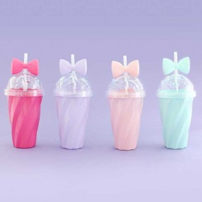 Diamond Ribbon Drinking Cup With Straw