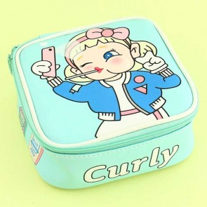 Kawaii Curly Girl Cosmetic Bags