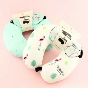 Flamingo Neck Pillow & Sleep Mask Travel Set