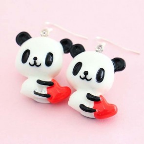 Panda With Heart Earrings