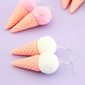 Pom Pom Ice Cream Earrings
