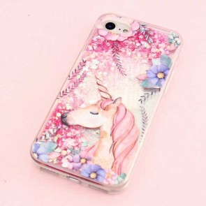 Glitter Unicorn With Flowers Protective Case for iPhone 8 / SE