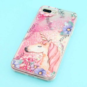 Glitter Unicorn With Flowers Protective Case for iPhone 7 / 8 Plus