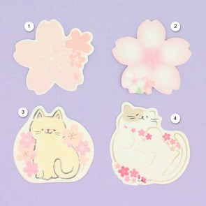 Japanese Sakura & Cat Theme Memo Cards