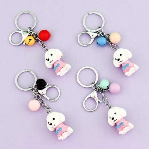 White Poodle Charm & Keychain