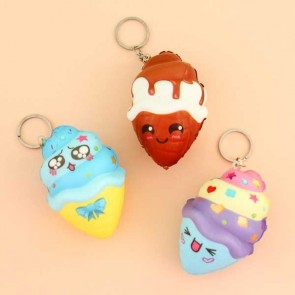 Emoji Ice Cream Squishy Keychain
