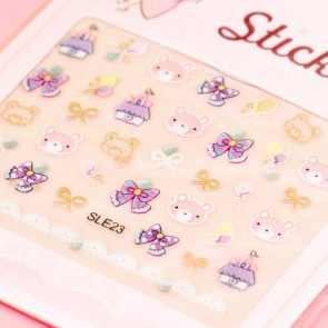 Pastel Bear & Bows Nail Stickers