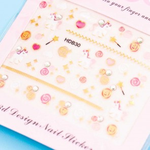 Nail Diamond Pastel Unicorn Nail Stickers